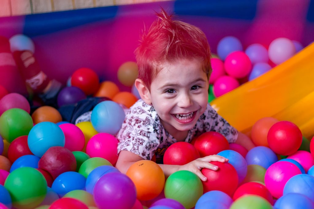 Pre-school play in a ball pit